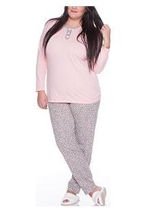 Pijama Longo Oncinha 100% Algodão E-Pijama (5323) Plus Size