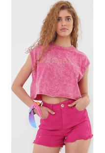Camiseta Cropped Colcci Lettering Rosa