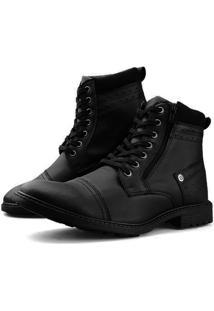 Bota Casual Touro Boots Furos Zíper Preto - Kanui