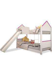 Beliche Infantil Casinha Prime Branco E Rosa Escorregador Casah