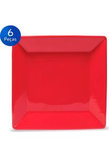 Conjunto De Pratos Para Sobremesa 6 Peças Quartier Red - Oxford Vermelho