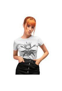 Camiseta Feminina Mirat Guitar Skull Branco