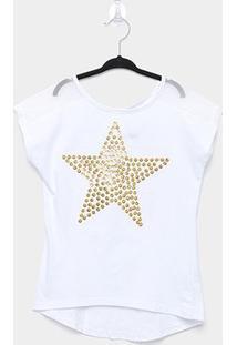 Blusa Infantil Amora Estrela Com Lantejoulas Feminina - Feminino-Branco