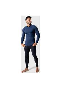 Camisa Térmica Adulto Masculina Segunda Pele Praia Surf Proteçáo Uv Esportiva 4 Estações Azul Marinho