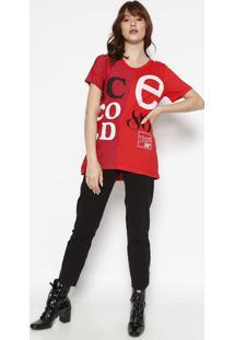 Camiseta Com Fios Metalizados- Vermelha & Branca- Cococa-Cola