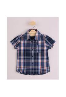 Camisa Infantil Estampada Xadrez Com Bolso Manga Curta Azul Marinho