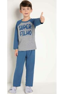 Pijama Infanto Juvenil Azul E Mescla Bela Notte