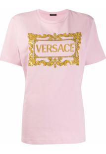Versace Camiseta Com Logo Bordado - Rosa
