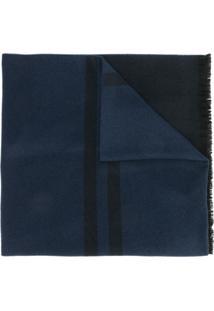 Emporio Armani Cachecol De Tricô Com Logo - Azul