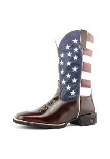 Bota Texana Estados Unidos Country Sapatofranca Cano Alto Não Possui Cadarço Marrom