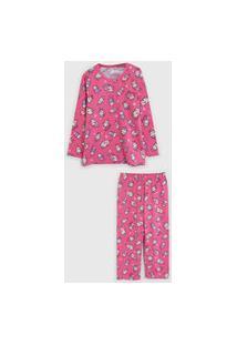 Pijama Malwee Liberta Longo Infantil Sorvete Rosa