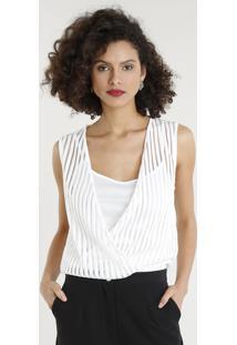 f64214fad7 Body Feminino Blusê Com Sobreposição Listrado Decote V Branco