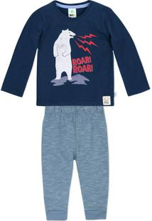 Conjunto Bebê Menino Com Camiseta Manga Longa E Calça