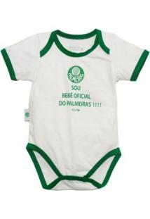 """Body Reve D'Or Sport Sou Bebê Oficial"""" Palmeiras Branca E Verde"""" - Kanui"""