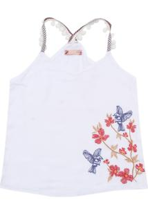 Camiseta Colcci Fun Menina Floral Branco