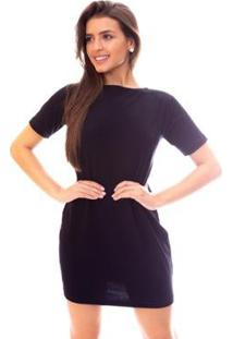 Vestido Moda Vicio Decote Nas Costas Com X Feminino - Feminino-Preto