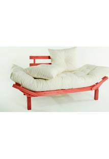 Sofá Cama Madeira Futon Country Comfort Acab. Stain Vermelho Com Almofada/Colchao Tecido T10 Biodecor - 190X80X83 Cm