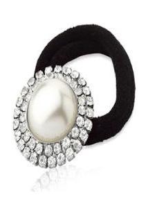 Laço Le Diamond Amarrador Copenhague Elastico Com Perola E Cristais Prata - Feminino-Prata