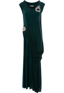 Jw Anderson Crystal Brooches Draped Top - Verde