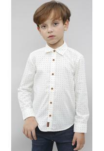 Camisa Infantil Estampada Em Poá Manga Longa Off White