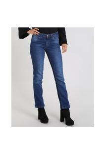 Calça Jeans Feminina Reta Azul Médio