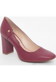 Sapato Em Couro- Vinho- Salto: 8,5Cmjorge Bischoff