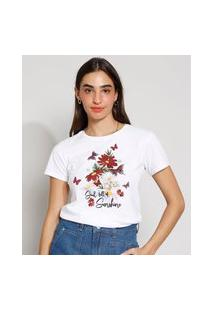 "Camiseta Feminina Manga Curta Soul Full Of Sunshine"" Decote Redondo Off White"""
