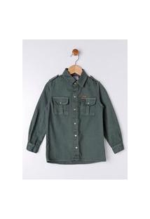 Camisa Sarja Manga Longa Infantil Para Menino - Verde