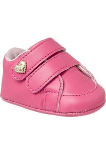 Sapatinho De Bebê Feminino Klin Recém-Nascido Velcros - Feminino-Pink