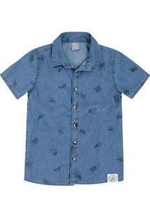 Camisa Jeans Juvenil Hering Estampada Manga Curta Masculina - Masculino-Azul