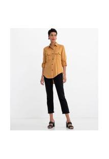 Camisa Manga Longa Lisa Com Botões Tartaruga E Bolsos | Marfinno | Amarelo | Pp