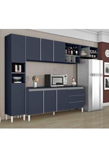 Cozinha Compacta 1 Balcão 1 Paneleiro E 1 Armário De Geladeira Nice Ii Siena Móveis Azul/Cinza