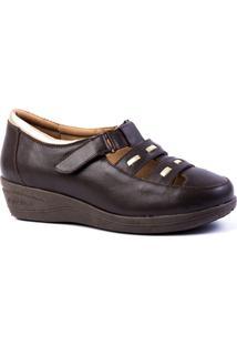 5377f179b6 Sapato Feminino Anabela 188 Em Couro Doctor Shoes - Feminino-Café