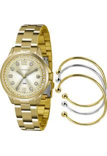 Kit De Relógio Analógico Lince Feminino + Braceletes - Lrg4393L K198C2Kx Dourado