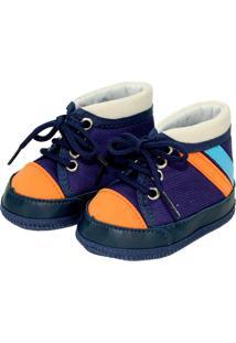 Tênis Cano Alto Colorido Sapatinhos Baby Azul Marinho