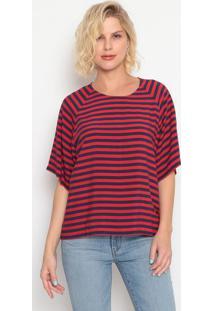 Camiseta Com Recortes & Zíper- Vermelha & Azul Marinholevis