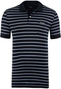 Polo Fio Escócia Navy Blue Stripes