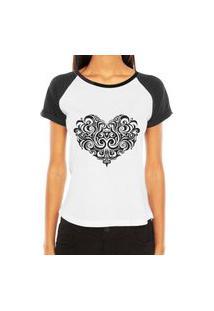 Camiseta Raglan Criativa Urbana Coraçáo Tribal Desenho Tattoo