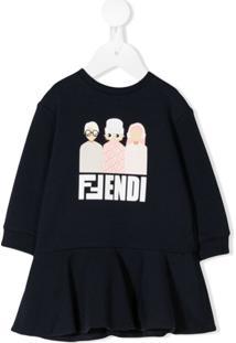 Fendi Kids Vestido Com Logo E Babados - Azul
