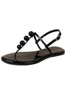 Rasteira Mercedita Shoes Verniz Preto Bola - Preto - Feminino - Dafiti