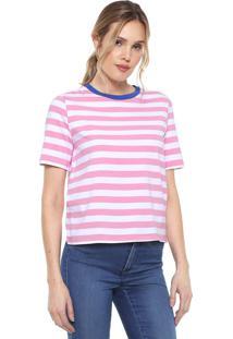 Camiseta Only Listrada Branca/Rosa