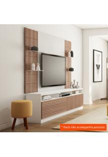 Painel Para Tv 42 Polegadas Veneza Branco Fosco E Carvalho Évora 200 Cm