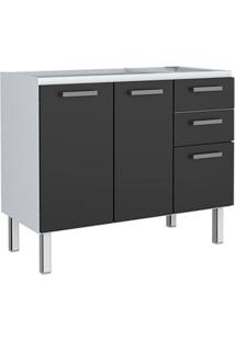 Gabinete Para Cozinha 120Cm Aço Eros Flat Preto 117X,2X91,2X50Cm - Cozimax - Cozimax