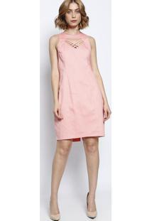 Vestido Texturizado Com Tiras - Rosamoiselle