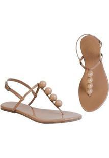 Rasteira Flat Bolinhas Mercedita Shoes Confortável Dia A Dia Casual - Feminino-Bege