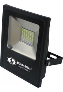 Refletor Led 30W Slim Blumenau Preto 3000K Luz Amarela