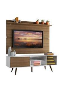 Rack Madesa Cairo E Painel Para Tv Até 65 Polegadas Com Pés De Madeira Branco/Rustic/Rustic