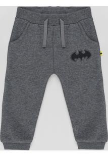 Calça Em Moletom Infantil Batman Com Bolsos Cinza Mescla Escuro
