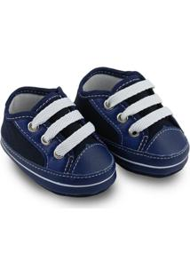 Sapato Para Bebê Soffete Com Cadarço - Masculino-Marinho