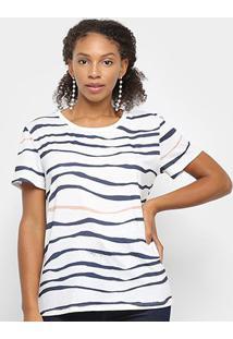 Camiseta Lança Perfume Estampada Feminina - Feminino-Branco+Azul